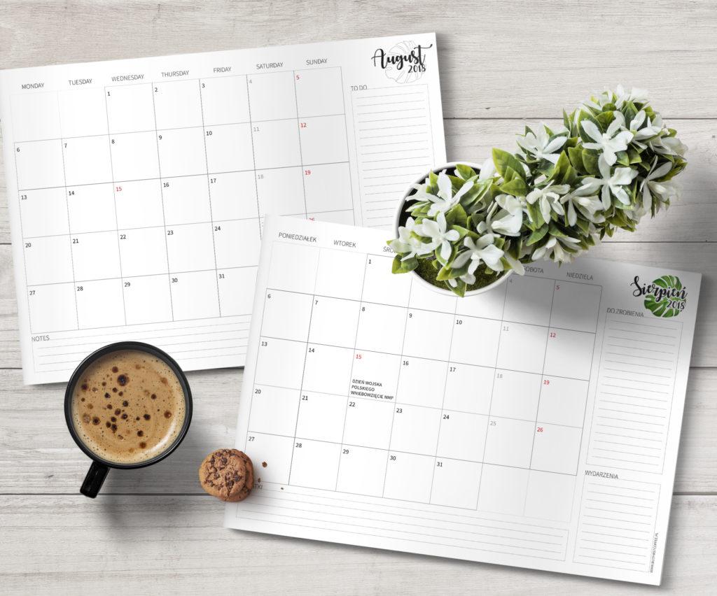 darmowy planner do druku, planner sierpień 2018, planner august 2018, free printable planner